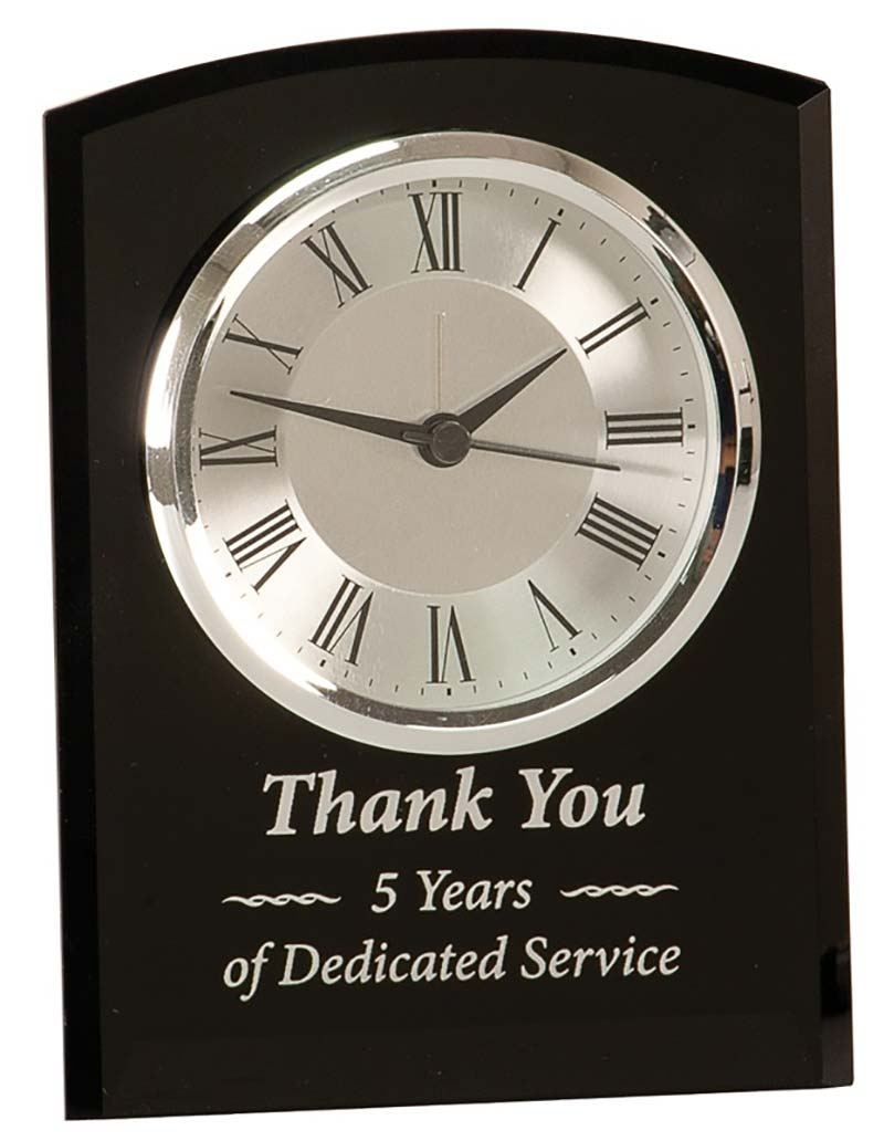 6 inch Black Glass Arch Clock - GCK202