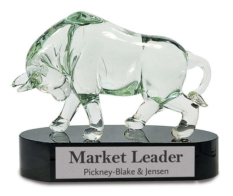 8 1/4 inch clear art glass bull on black base - AGS20