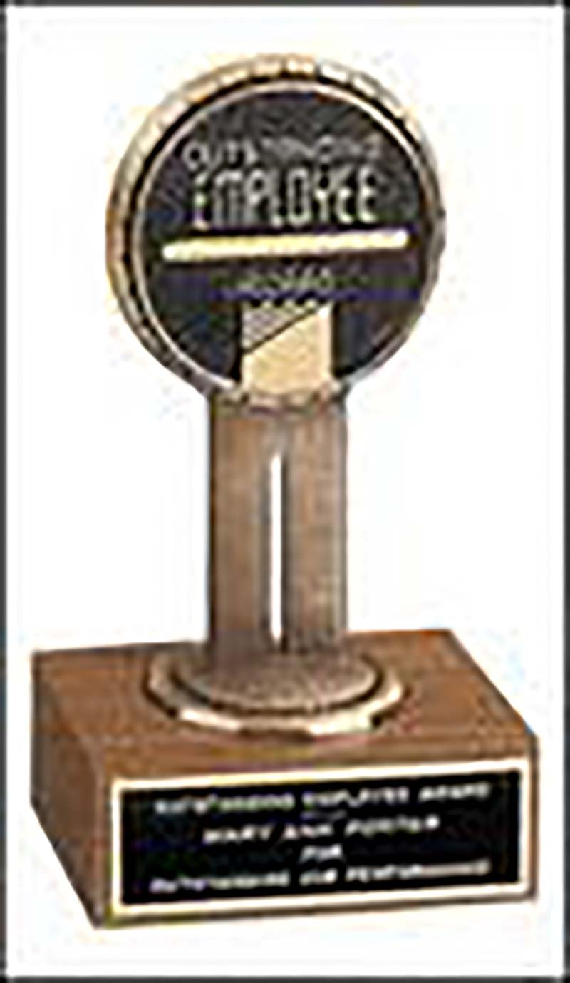 6'' award on walnut base with medallion - T1540X