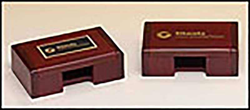 Rosewood finished business card box - B425