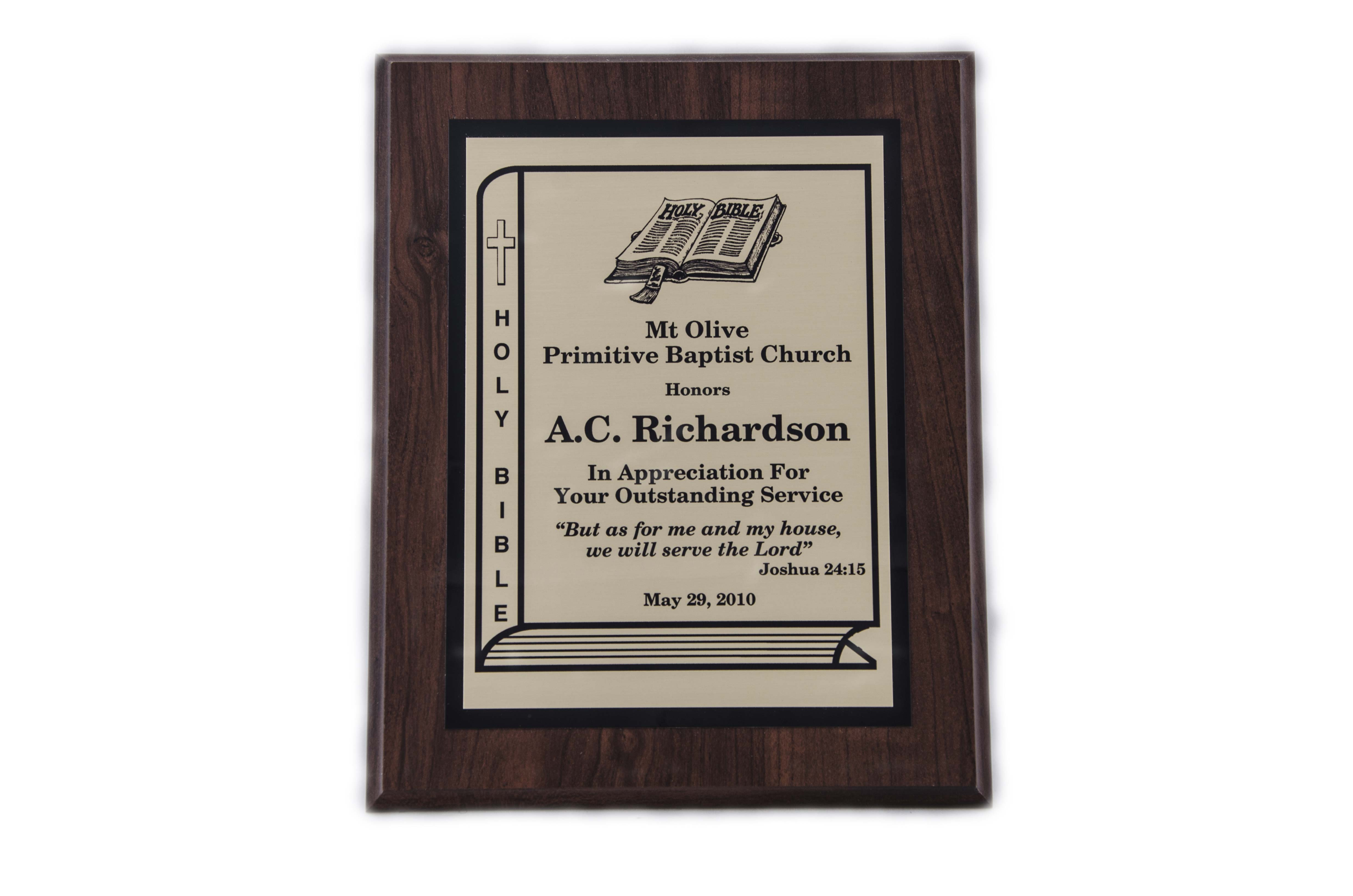 8'' x 10'' oak wood finished plaque - P810