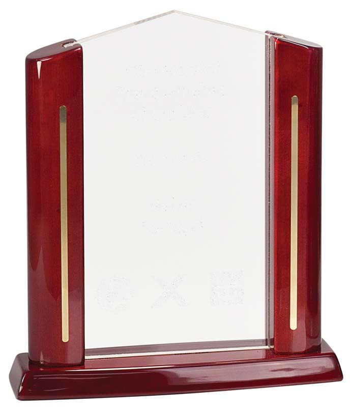 Rectangle cathedral acrylic award with piano finished rosewood - CAR51