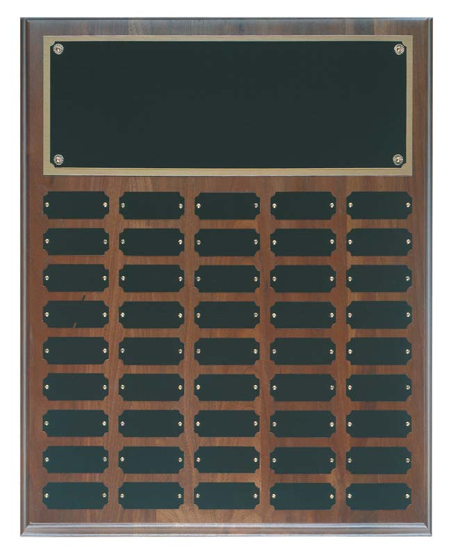 Walnut perpetual plaque with black brass plates - WPP12