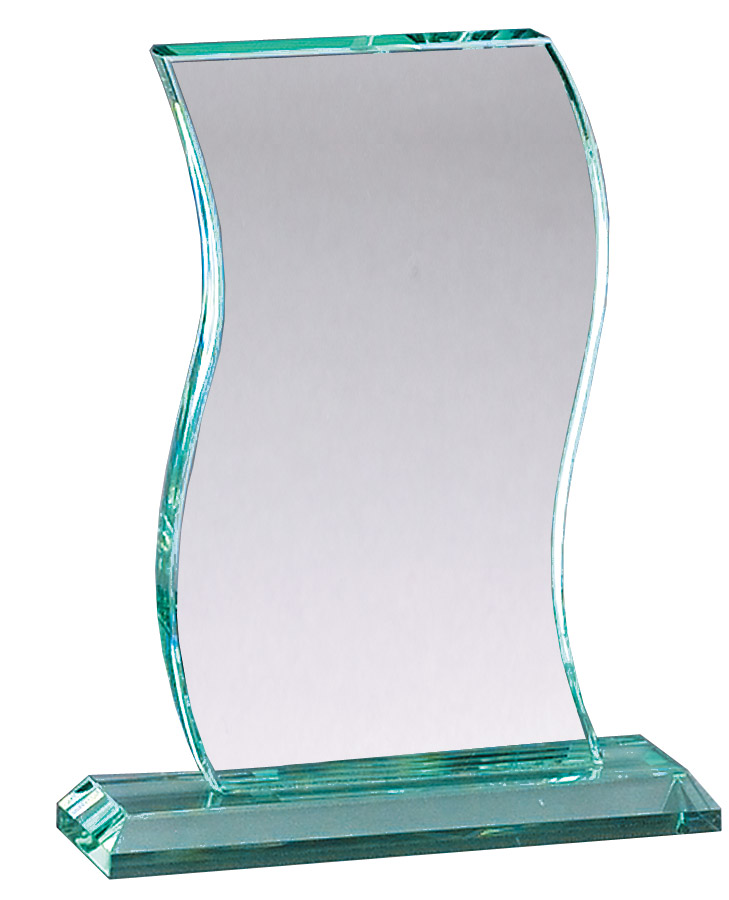 Jaded glass wave award on base - GL110