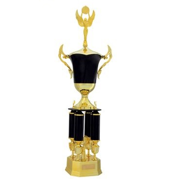 Black and gold two-tier trophy with four columns and cup - 211-BLK