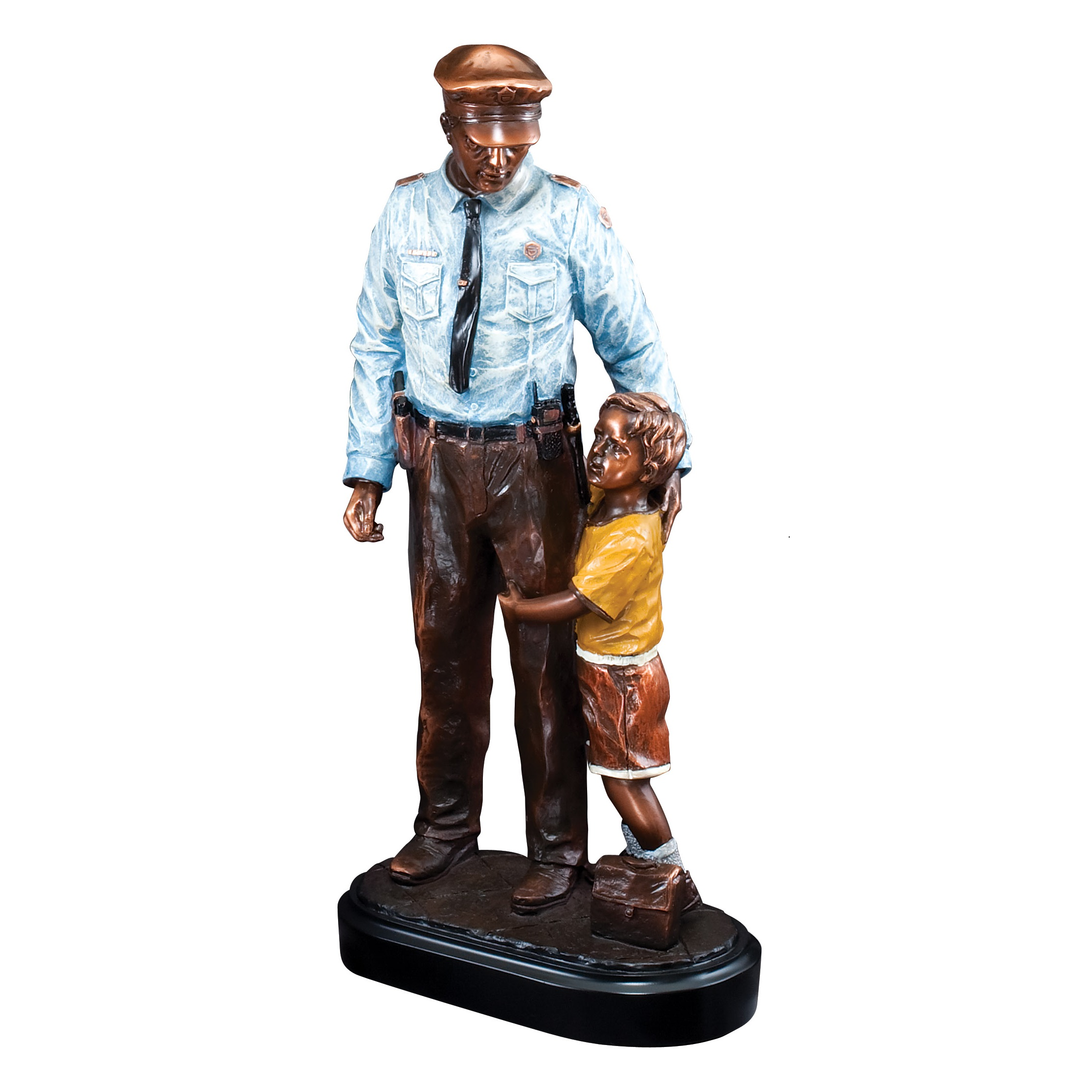 12.5 inch policeman with child sculpture - RFB104