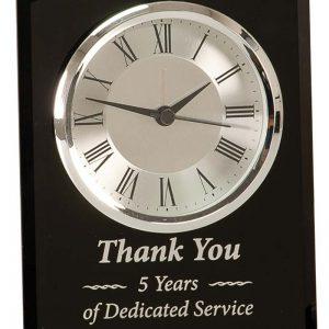 6 inch Black Glass Arch Clock - GCK202