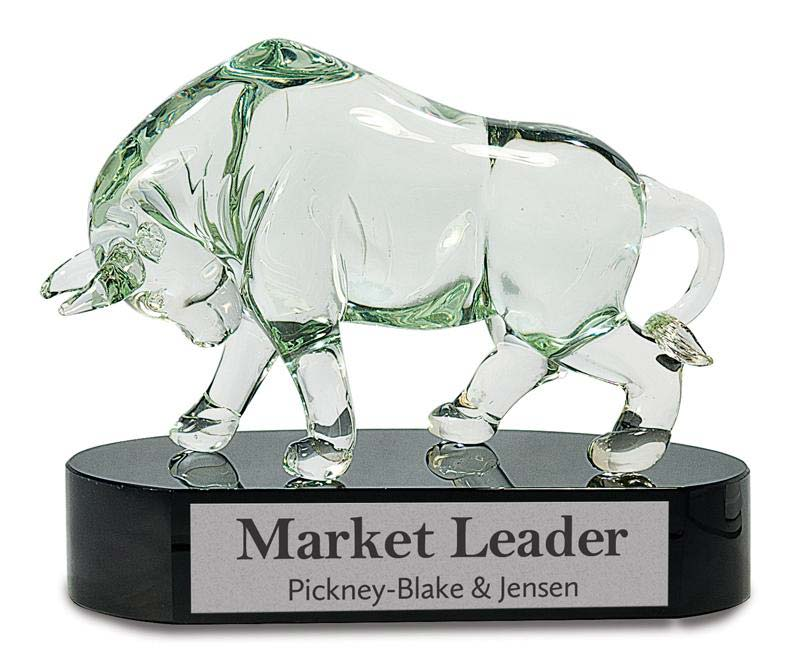 8 1/4 inch clear art glass bull on black base - AGS20