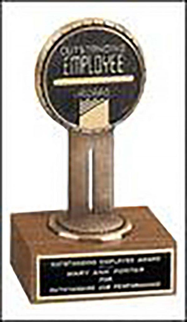6'' award on walnut base with medallion - T1540X