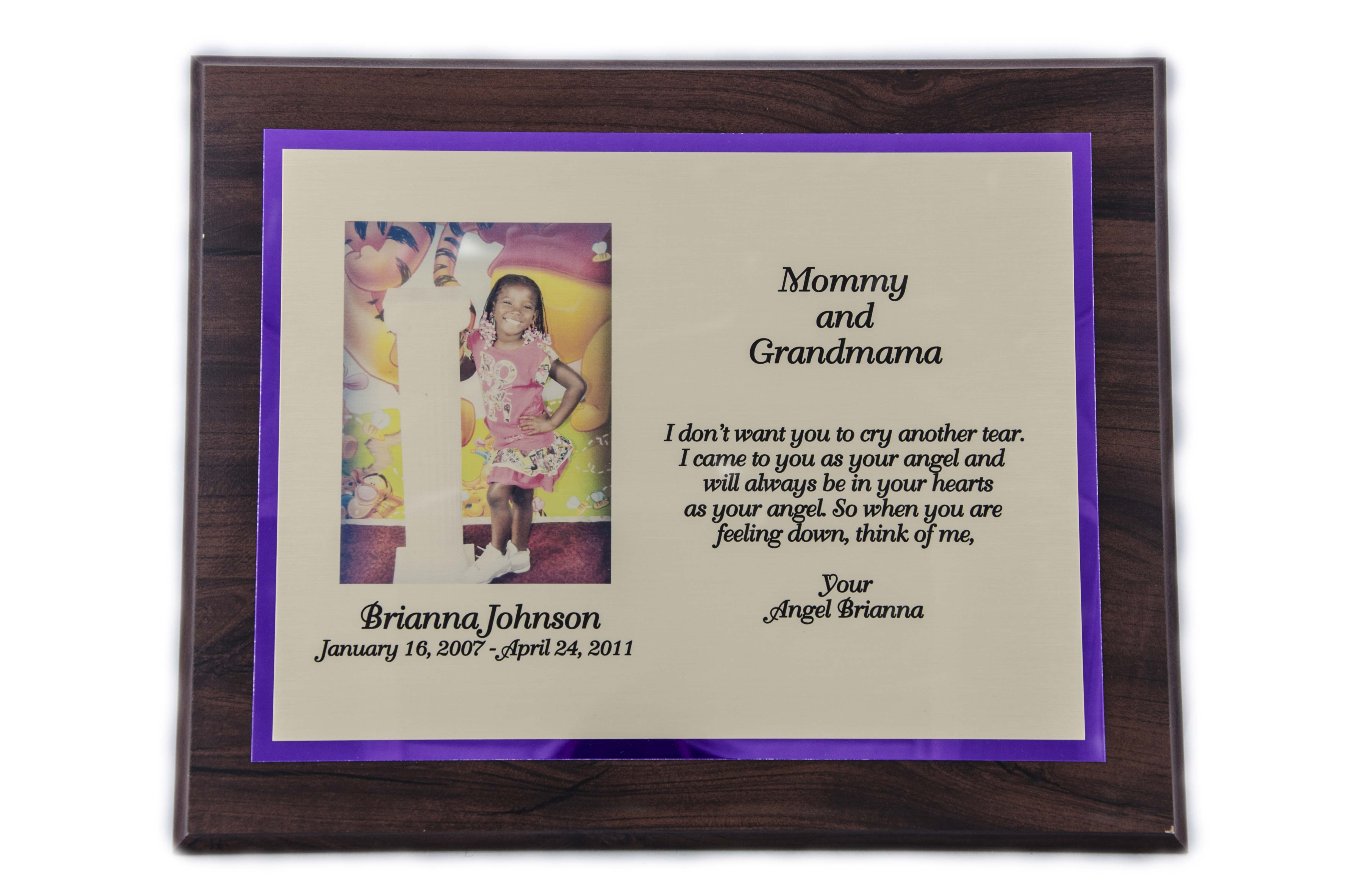 10'' x 13'' oak wood finished plaque - P1013