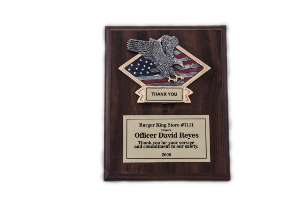 8'' x 10'' oak wood finished plaque with resin - 3-D 810 Series