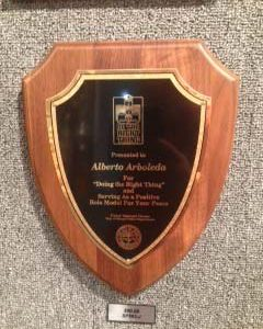 Oak wood finished shield plaque with gold trim - SP563