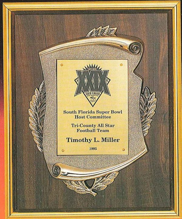 Oak wood finish plaque with gold scroll casting and frame- FP1