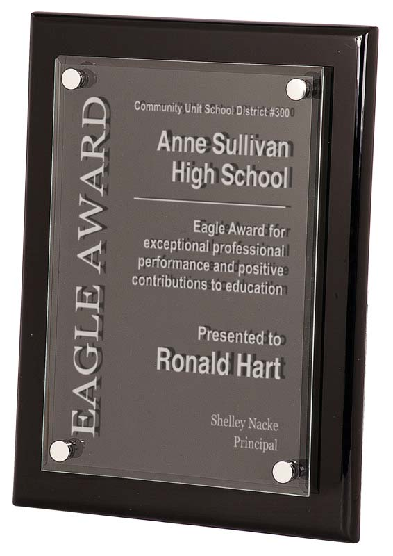 Black piano finished plaque with floating acrylic - Black FPA Series