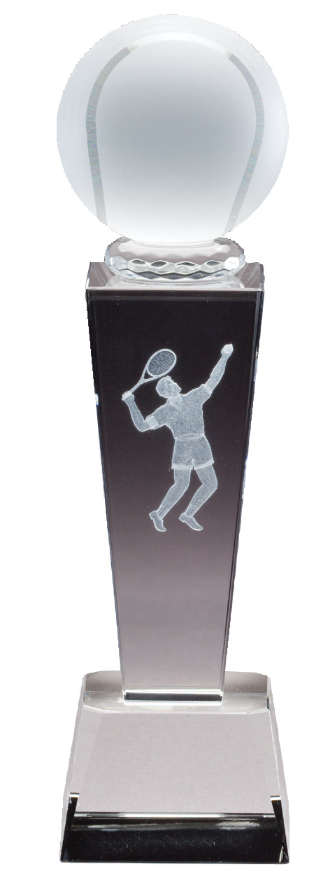 8.75'' x 2.5'' frosted crystal award with 3-D figure - Collegiate Series
