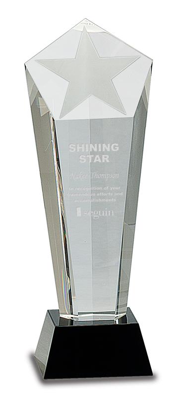 Crystal star tower award on black base - CRY031