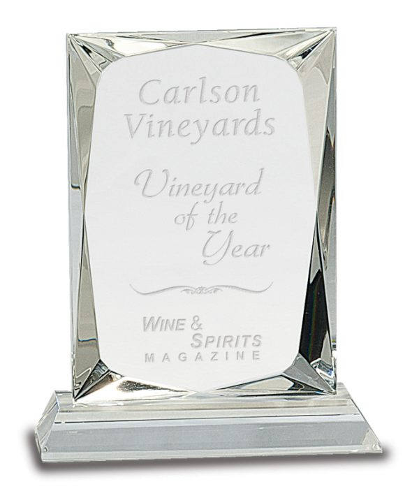 Faceted crystal rectangle award - CRY110
