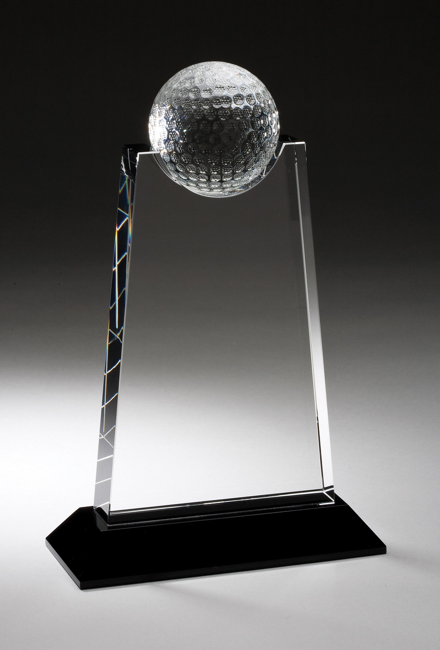 9 inch crystal award with golf ball on black base  u2013 cry307