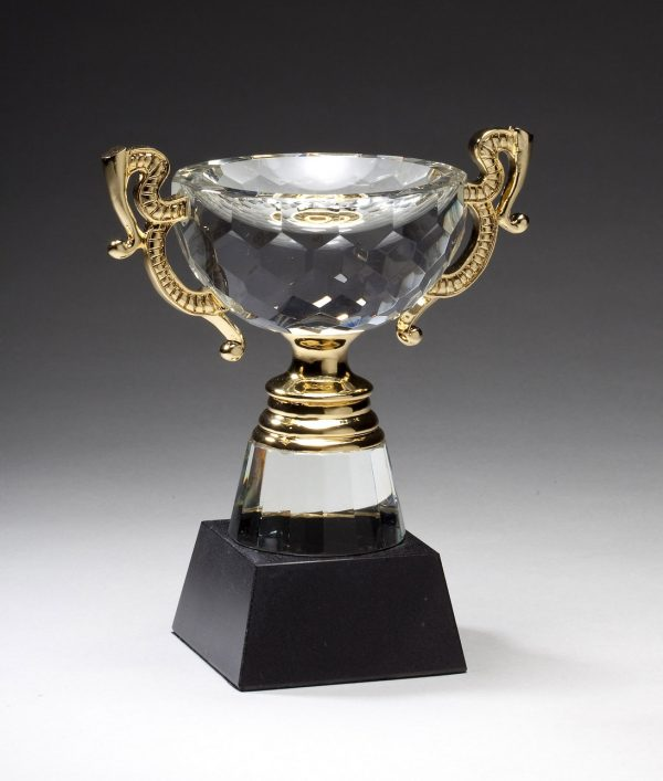 Crystal cup with gold handles and stem on base - CRY416