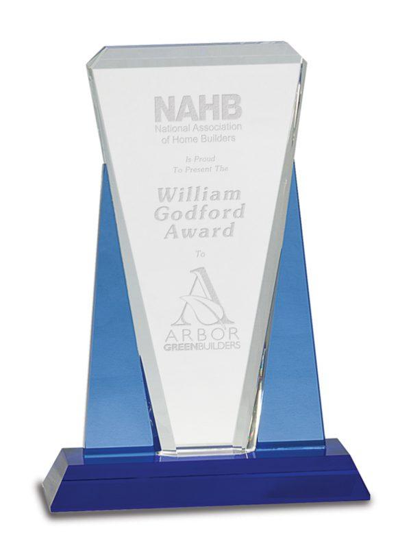 Crystal award on blue base - CRY535