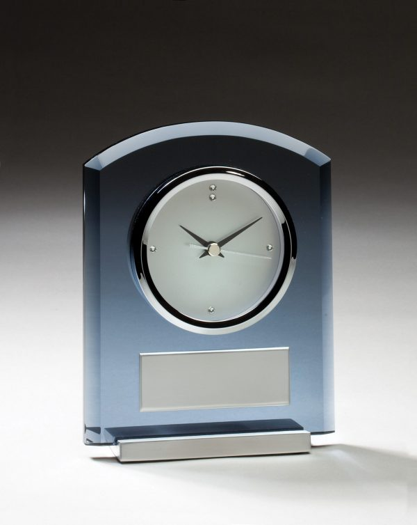 5.5'' x 7'' clock with smoked glass and brushed aluminum accents - GK38