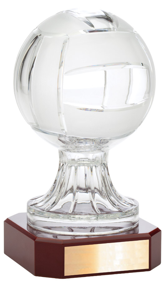 Crystal sport ball award on rosewood base - LC47B