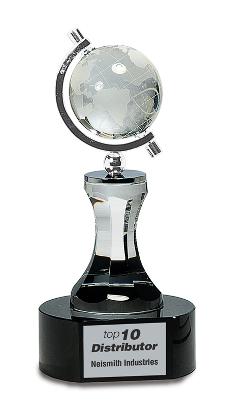 8.5 inch crystal globe and column on black base - CRY046
