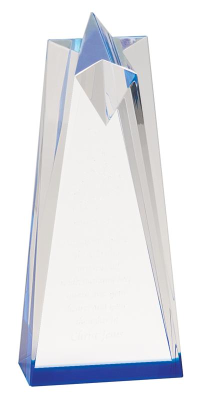 Blue sculpted acrylic star tower - AST6BU