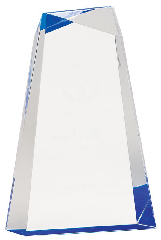 Blue faceted acrylic wedge award - AWG7BU