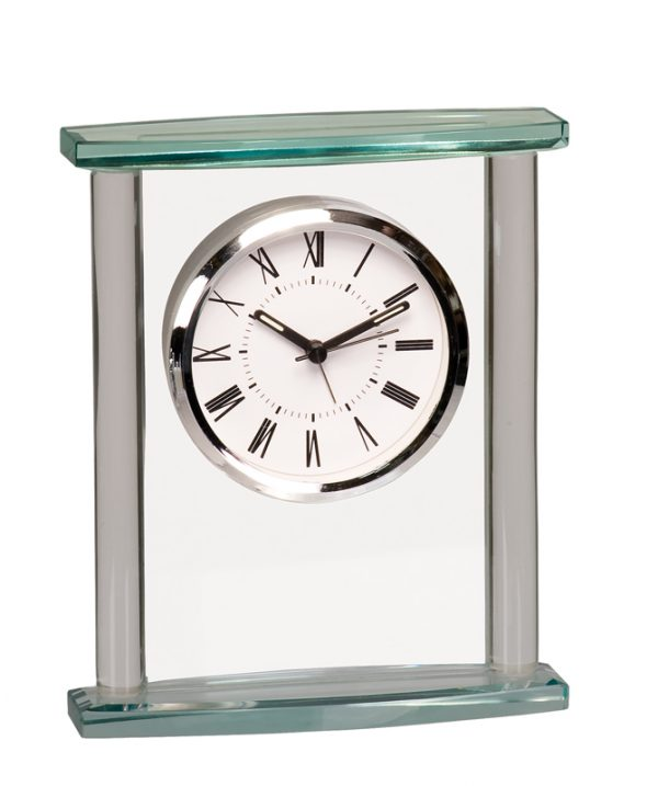 6 inch square glass desk clock with optional glass top - GCK002
