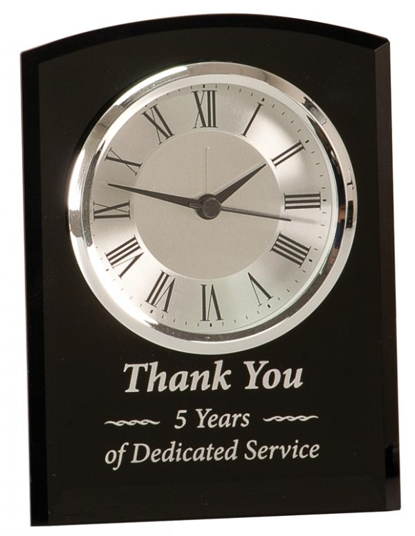 6 inch black glass clock with optional base - GCK201