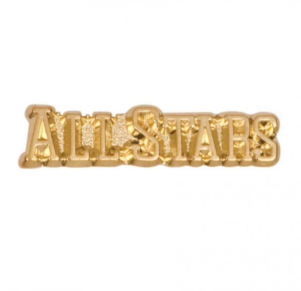 """""""Allstars"""" pin with bright gold finish and butterfly clutch back. Pin length is 0.5'' - CHEN102"""