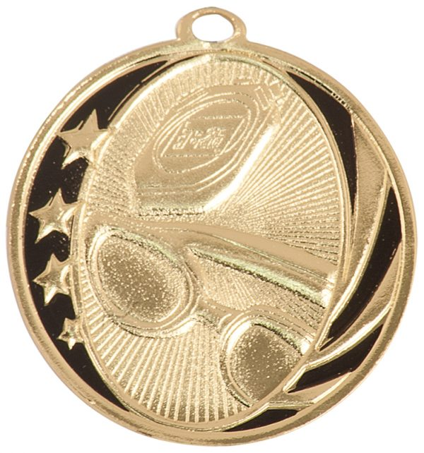 2 inch gold and black medallion - MS701G