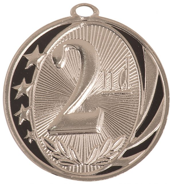 2 inch silver and black medallion - MS701S