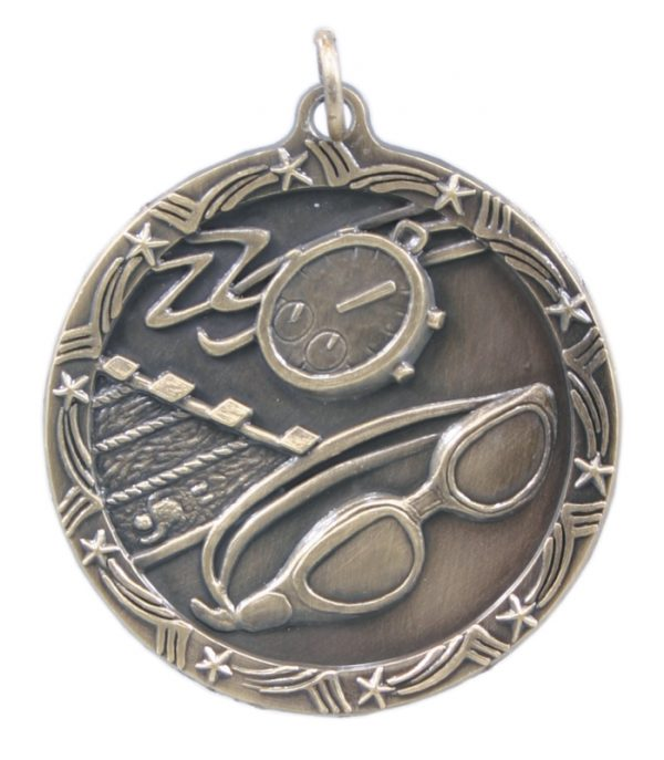1.75 inch silver shooting star medals - ST08S