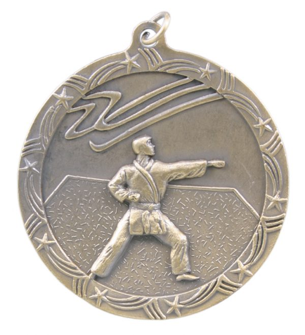 2.5 inch silver shooting star medal - ST58S
