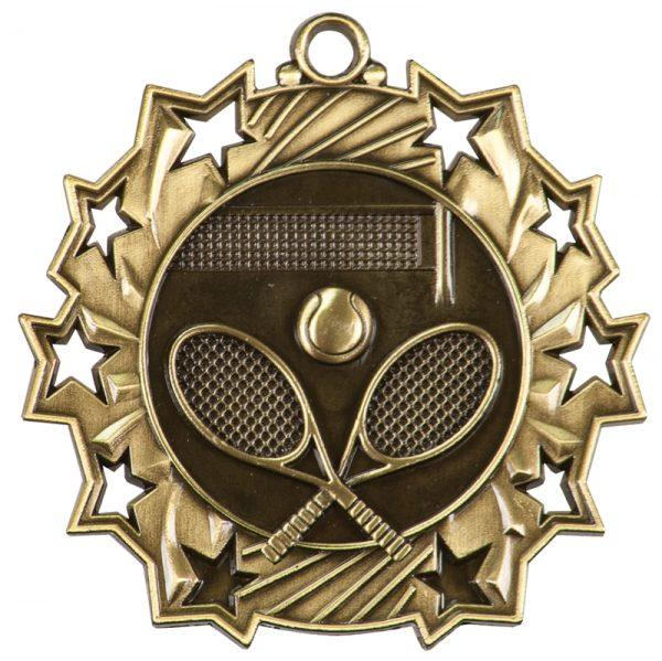 2.25 inch silver ten star medal - TS400S
