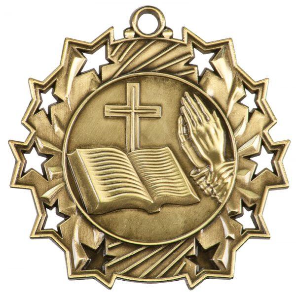 2.25 inch gold ten star medal - TS400G